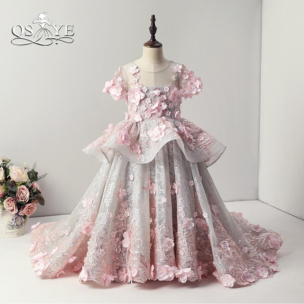 Qsyye 2018 Rosa Vintage Arabisch Prinzessin Blume Madchen Kleider