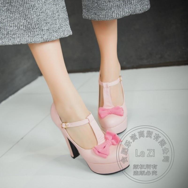 ФОТО T Strap Bohemia Solid Color Pu Bowknot Platform High Heels Big Size Shoe Soft Leather 41 Size Pink Modern Leisure Round Toe Pu