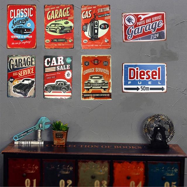 Vintage Shabby Chic Metal Estaño Signos Garaje Coche Servicio