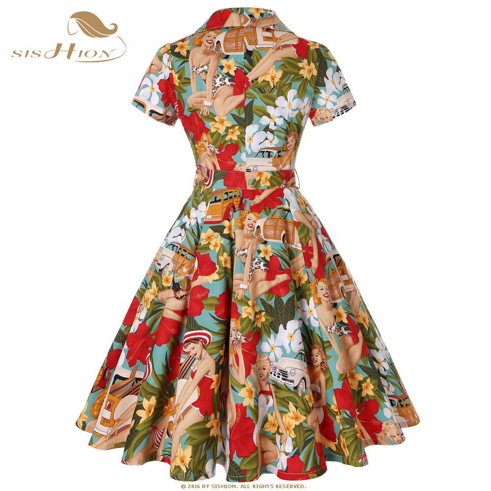 CUERLY 50s 60s Retro Vintage Dress Short Sleeve Car and Beauty Pattern Floral Print Elegant Women Plus Size Autumn Dress SD0002 in Dresses from Women 39 s Clothing