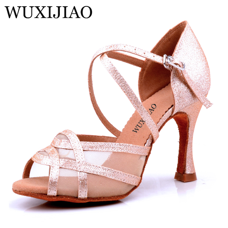 WUXIJIAO  Latin Dance Shoes Women Flash Satin Gold Silver Black Wide Thin High Heel 9cm Salsa Performance Ballroom Dancing Shoes