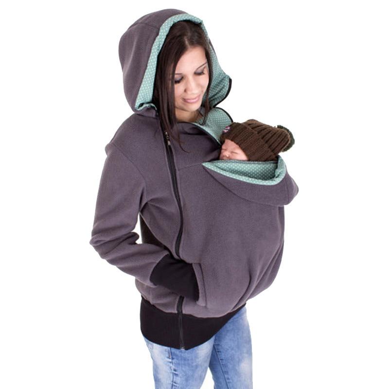 Nuevo 2018 grueso embarazo lana ropa de bebé maternidad sudaderas con capucha Baby Carrier chaqueta canguro prendas de vestir exteriores sudaderas y sudaderas abrigo
