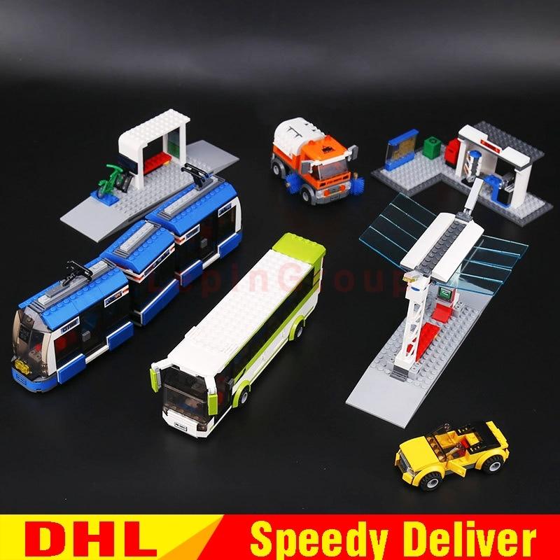 Lepin blocs 02023 la ville transports publics gare Set Compatible lepinings jouets 8404 briques de construction Bus Train voiture de noël