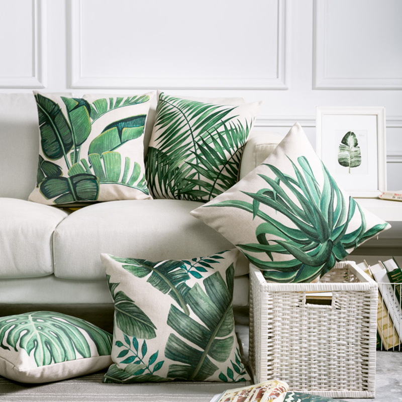 Tropical Pillow Cover Cushion Case Green Leaf of Tropical Palm Telopea monstera ceriman Home Decorective Cushion Cover 45x45cm