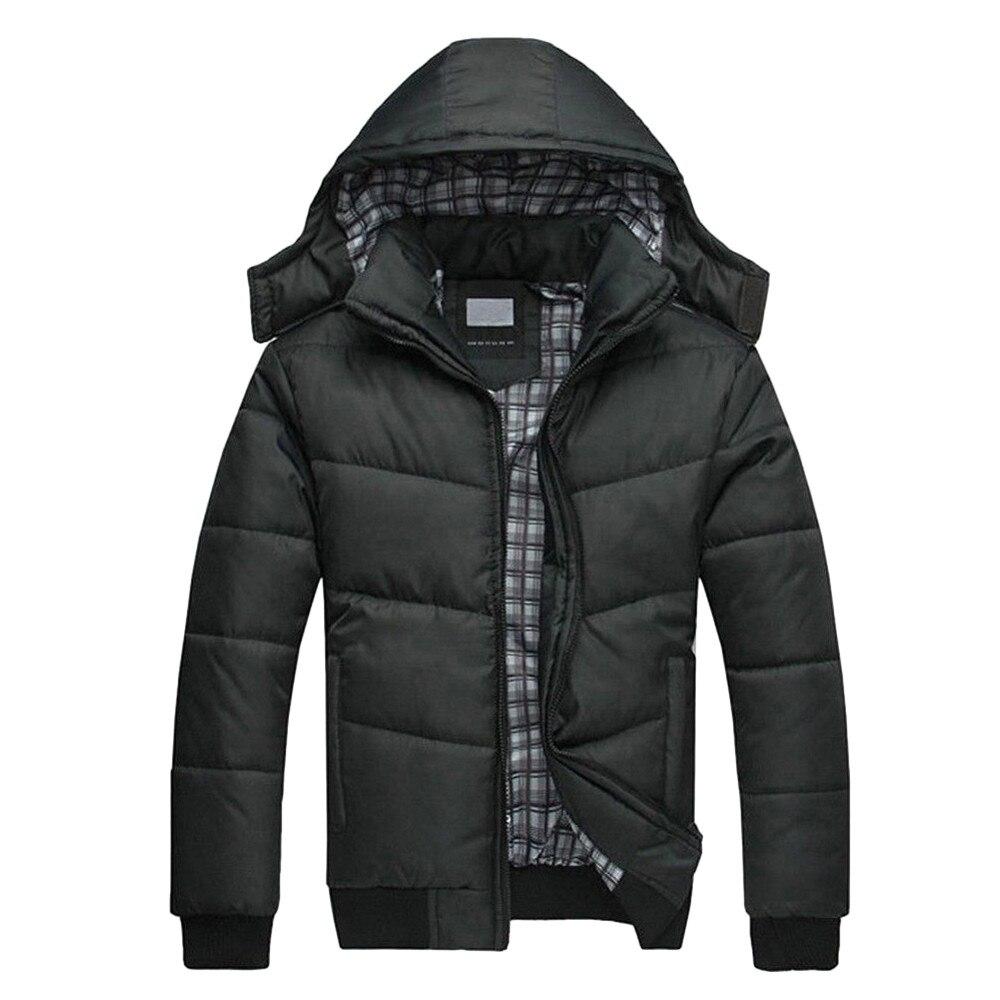 Mens Black Jacket Warm Overcoat Outwear Padded Hooded Down Winter Coat Men's Casual Warm Jacket Outwear  Oct18