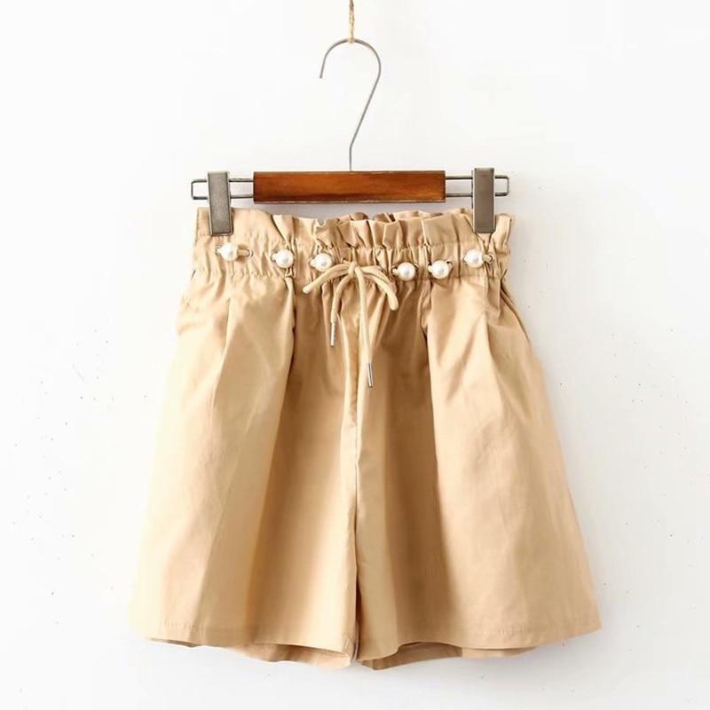 Korean Style Pearl Drawstring Frilly Elastic Band High Waisted Shorts Summer Women Wide Leg Casual Loose Shorts Pantaloncini