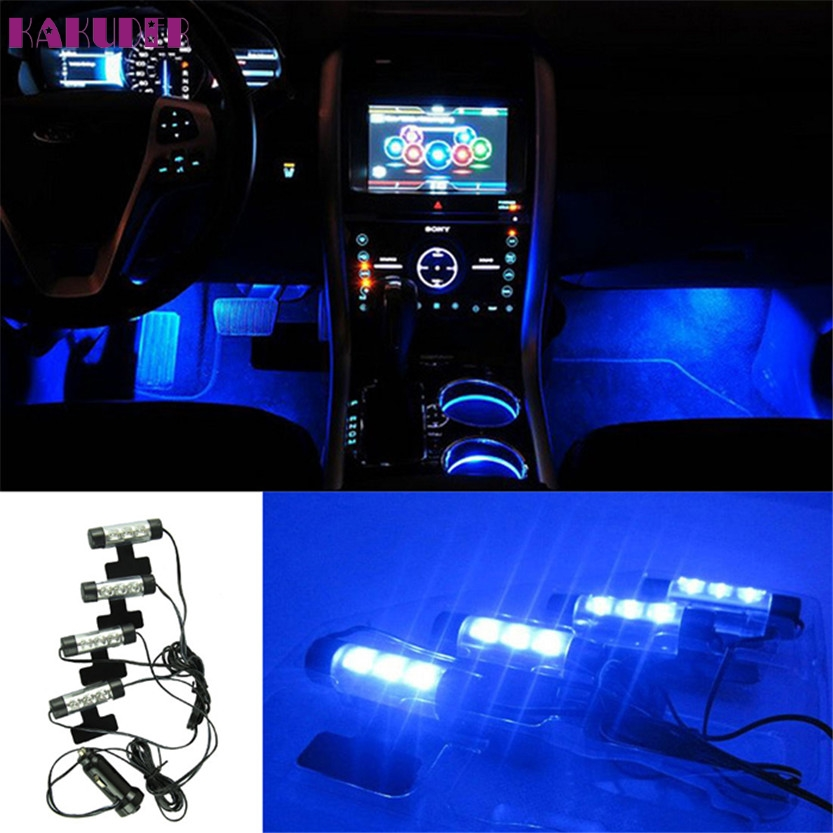 2017 NEW HOT 4x 3LED Car Charge 12V Glow Interior Decorative 4in1 Atmosphere Blue Light Lamp Jun 21 DROPSHIP wholesale price 4 x 3 led car accessory glow interior decorative atmosphere light lamp 12v purple orange