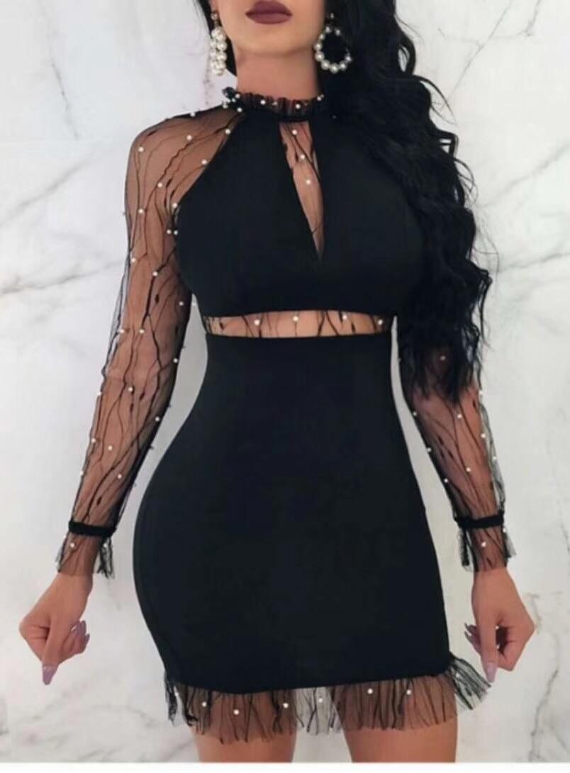 Sexy Designer Manches Creux Mini En Robe Gros Élégante Dentelle Out Femmes Longues Parti Bandage Rayonne Noir XqwqEp7