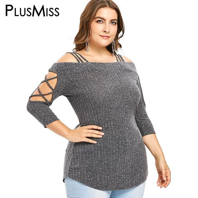 42da76c19573d PlusMiss Plus Size Off Shoulder Knitted Tops Tee Women Big Size 5XL Cut Out  Sexy Lace Up T-shirts XXXXL XXXL XXL T Shirts Autumn