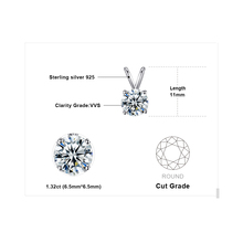 Classic Round 1ct Solitaire Pendant 925 Sterling Silver Jewelry For Women Accessories Not Include a Chain