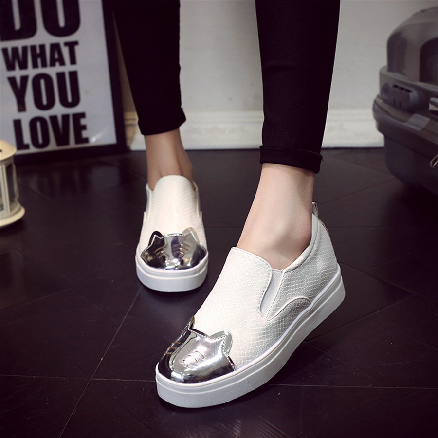 15% OFF new single shoes shallow mouth female Korean cute cat flat shoes students women flats casual shoes black white