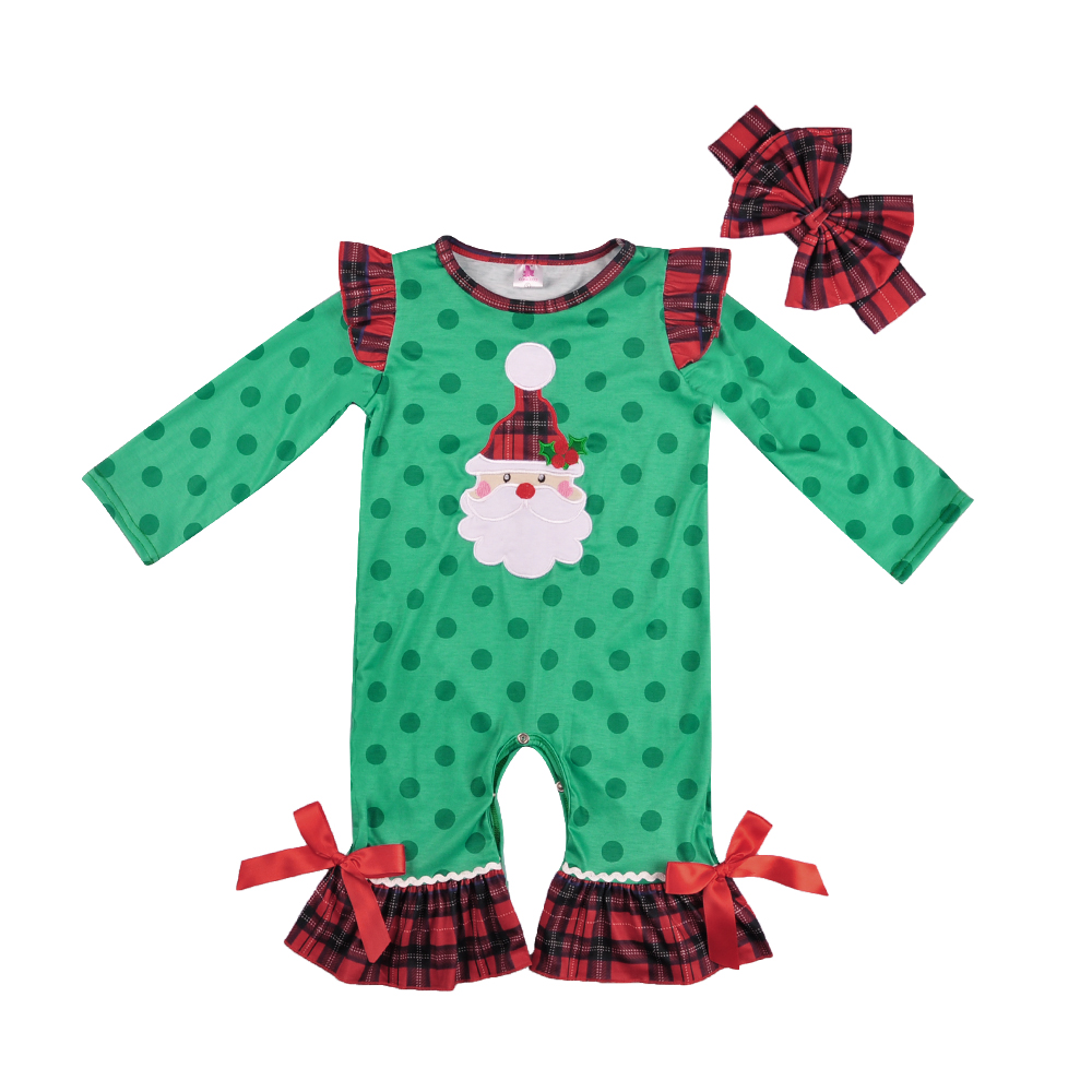 Christmas day girls baby   romper   green ruffles Knitted cotton boutique children ruffles   rompers   Match Boy   Romper   GPF808-237