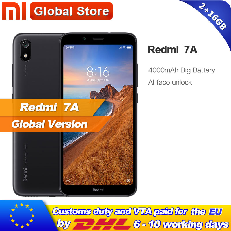 Global Version Xiaomi Redmi 7A 7 A 2GB RAM 16GB ROM 5 45 Snapdargon 439 Octa