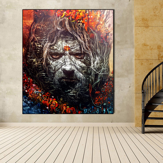 Us 8 97 49 Off Aavv Nature Art Burning Man Old Man Wall Painting Canvas For Wall Art Decoration Oil Painting Picture Home For Living Room In