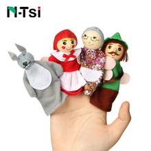 Popular Baby Cartoon Animal Monkey People Finger Puppets Wooden Theater Soft Doll Kids Educational Toys for