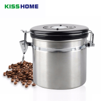 350g Coffee Bean Sealing Can 304 Stainless Steel with Exhaust Valve Tea Leaves Dry Grain Milk Coffee Powder Kitchen Storage Can