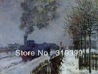 100% handgemaakte olieverf reproductie op linnen doek met museum kwaliteit en gratis verzending, trein in de sneeuw by claude monet