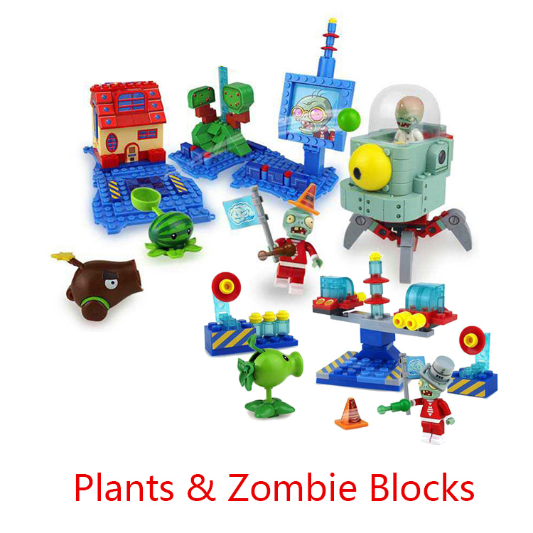 Plants vs Zombies Peashooter Plastic mini Anime Action Figures Model Building Blocks Bricks DIY Toys For Children Brinquedos электронная игрушка для детей plants vs zombies