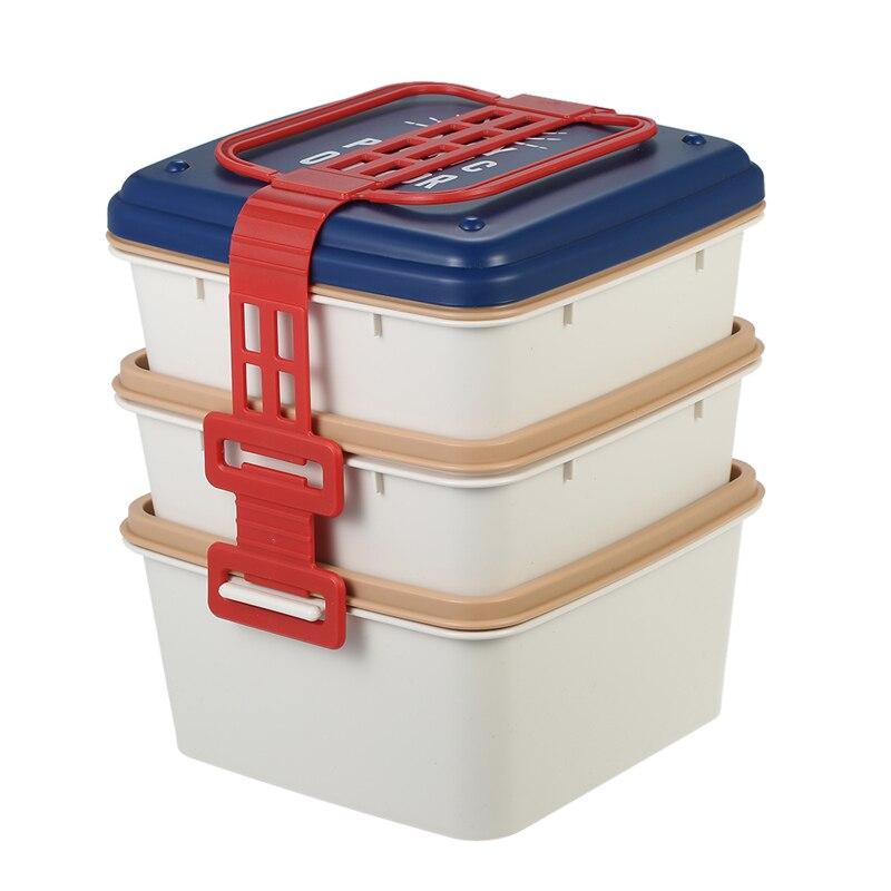 3 Schichten Grosse Kapazitat Mikrowellen Lunchbox Kunststoff Erwachsene Picknick Camping Bento Boxs Japanischen Porzellan Geschirr Set In