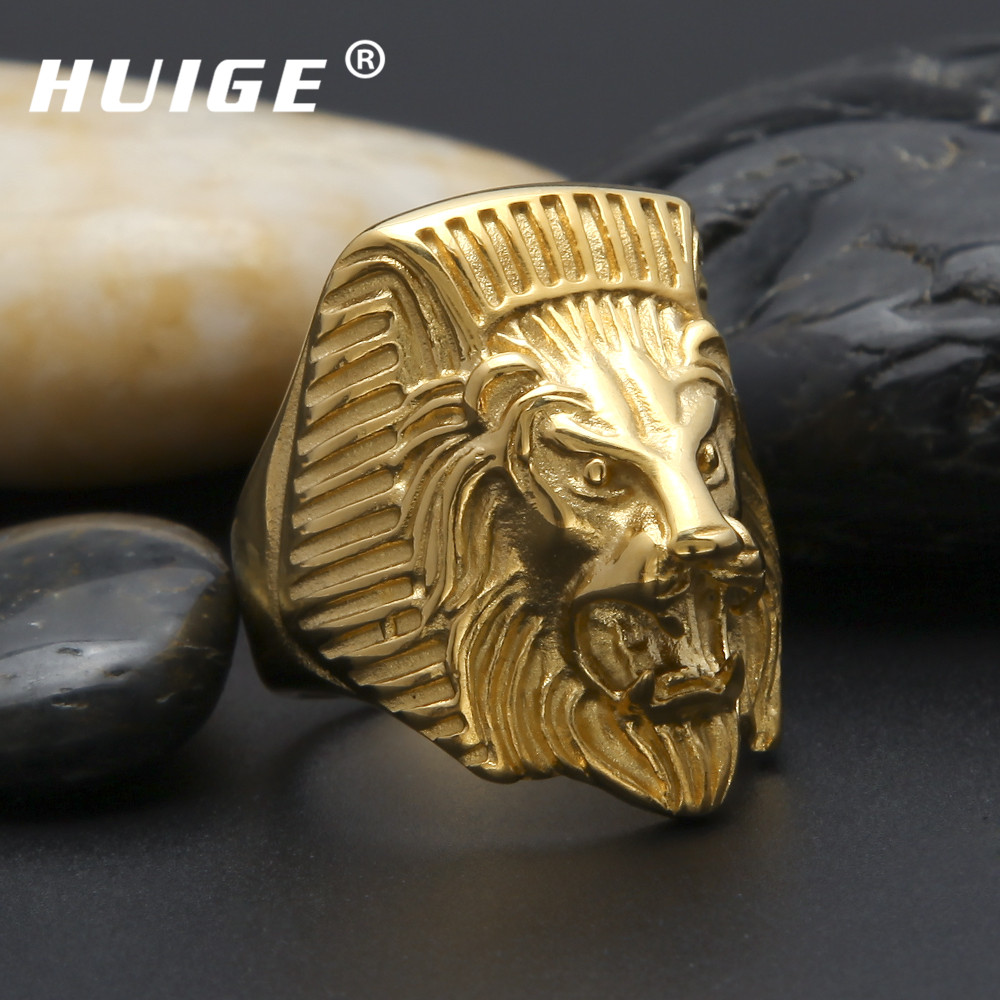 Gold men ring gold filled Lion head design 316L stainless