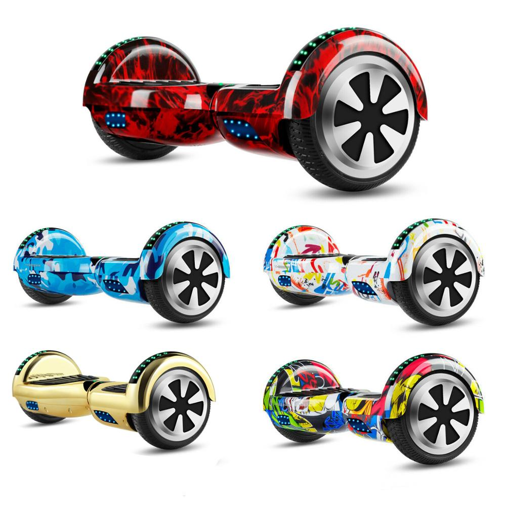Electric Scooters 6.5 Inch Hoverboard Bluetooth LED Lights Self-Balancing Scooters Two Wheels Balance Skateboard+Remote Key+Bag