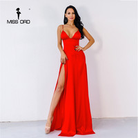Missord 2017 Sexy New Clubwear Evening High Split Dresses Female Red Color Christmas Party Elegant Maxi