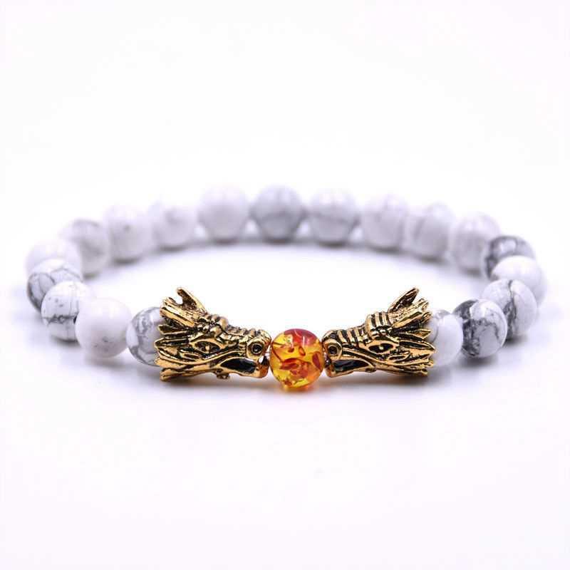 Белый Камень Золото Серебро djustable тигровый глаз натуральный камень femme браслет pulsera hombre браслеты Дракона Для для женщин мужчин