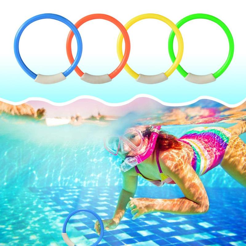 4 Pcs/Pack Child Kid Diving Ring Underwater Swimming Pool Diving Buoys Loaded Throwing For Summer Beach Water Toy Pool Accessory