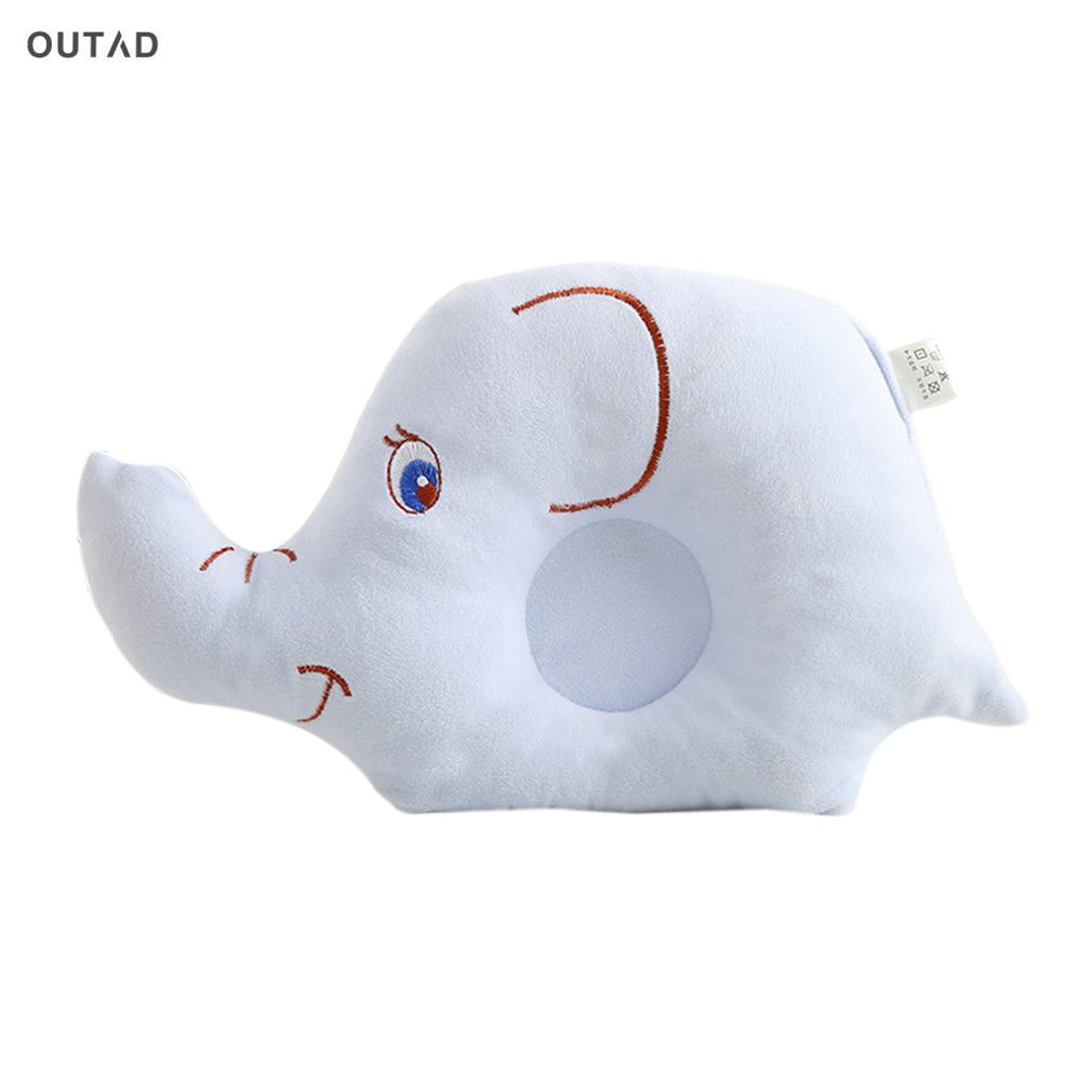 OUTAD Baby Cartoon Elephant Pillow Anti-Roll Prevent Flat Head Sleeping Position For Newborn Infant Soft Fabric Animal Pillows