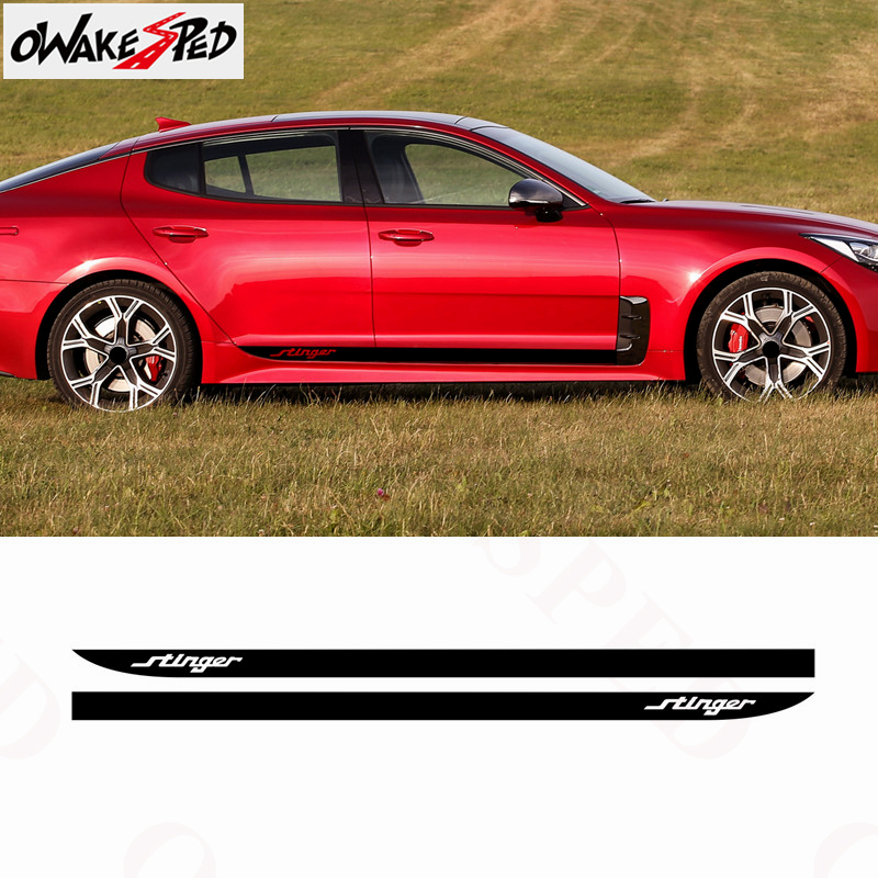 Carbon Fiber Sport Stripes Car Door Side Skirt Vinyl Decal For KIA Stinger Racing Style Auto Body Accessories Waterproof Sticker