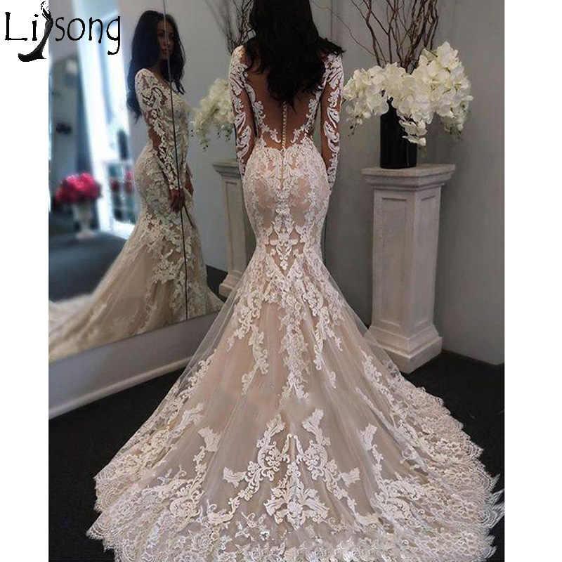 bc0846bcfa 2019 New Illusion Long Sleeves Lace Mermaid Wedding Dress Tulle Appliques  Court Train Elegant Wedding Bridal