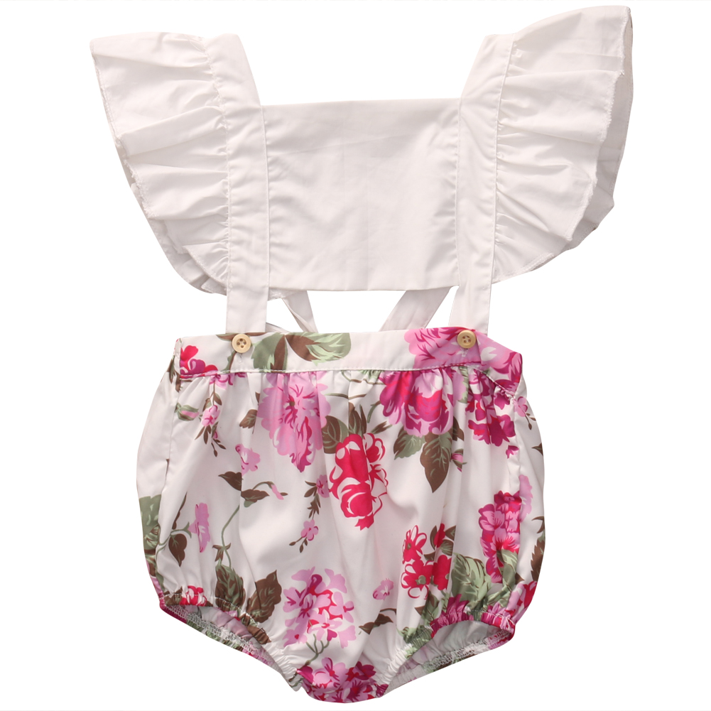 2017 Cute Baby Girl Romper Summer Fly Sleeve Ruffles Floral Rompers Jumpsuit Hollow Out Toddler Kids Clothes Sunsuit Outfit 1-5Y 2017 toddler kids infant baby clothes girl backless floral strap romper jumpsuit cute baby girl clothes baby onesie outfit