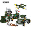 687PCS Military Base Mobile Combat Vehicle Aircraft Model Bricks Army Soldier Search Dog Toy For Boy's Compatible Enlighten