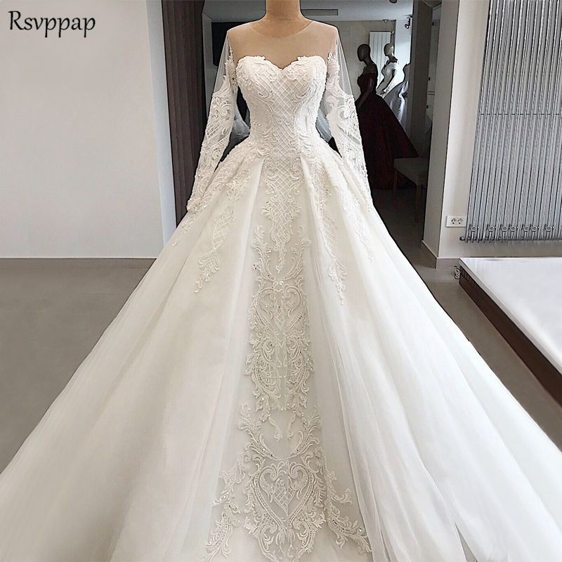 A Line White Tulle Wedding Dress 2017 Arabic Bridal: Elegant Lace Wedding Gowns 2018 Sheer Long Sleeve A Line