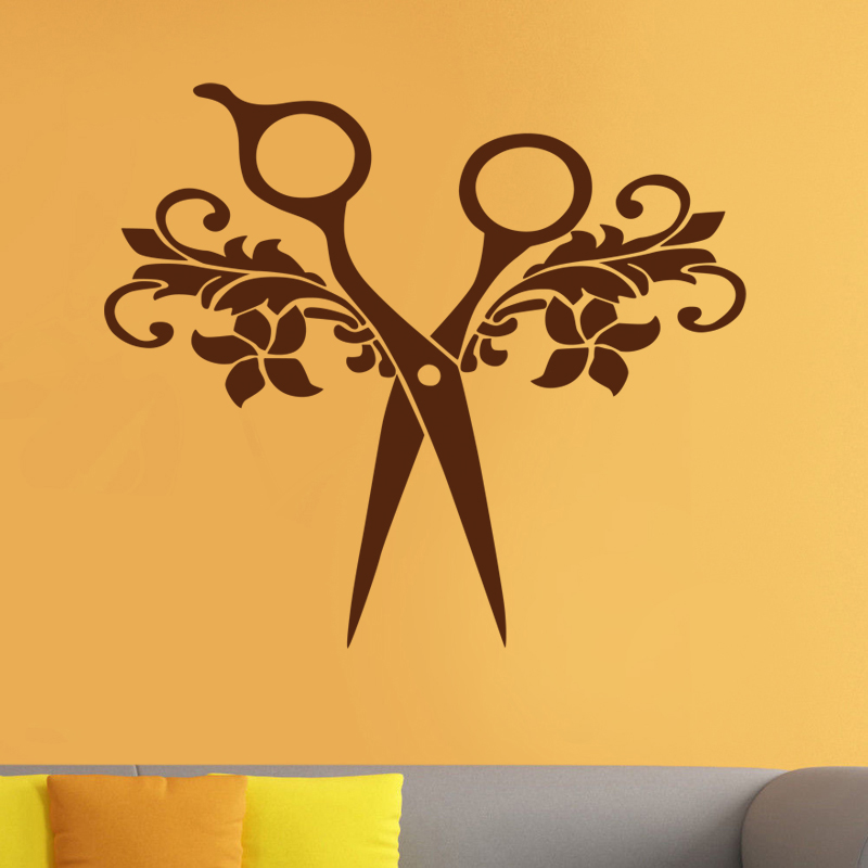 Barber Shop Sticker Name Scissors Hair Salon Decal Neutral Haircut ...