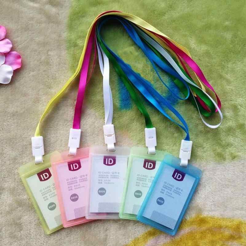 New Kẹo Màu Nhựa Huy Hiệu Chủ Thẻ Pvc Dễ Thương Màu Hồng Sinh Viên Trường Hợp Thẻ Xe Buýt Triển Lãm Giấy Chứng Nhận Thẻ Bìa Làm Việc Tag chủ