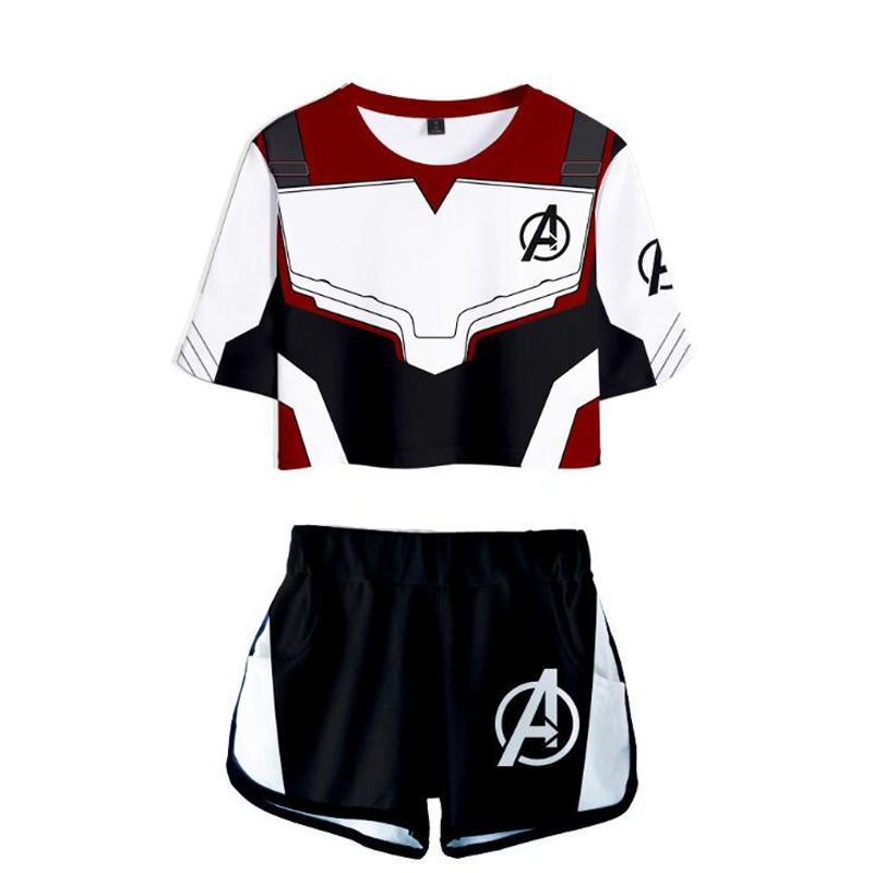Avengers Endgame Quantum Realm 3D Printed 2 Piece Outfits For Women Crop Top Track Suit Two Piece Set Top And Shorts Set