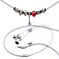 URIZONS Novelty Wired Earphones Charms Beads Bracelet Stereo bass earphones PU Leather Wired Headsets For iphone samsung mp3