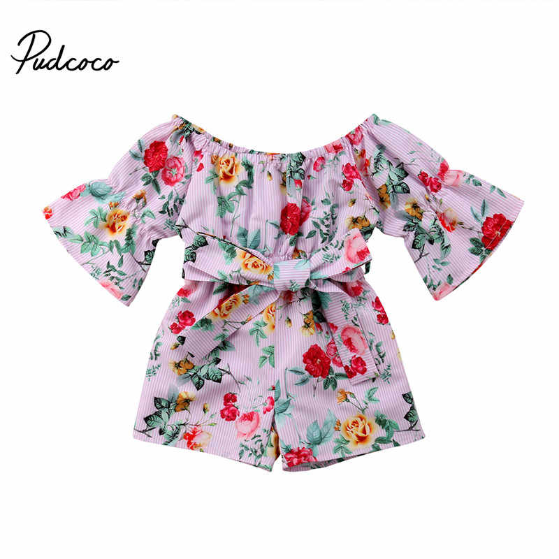 9be4e571260 2018 Fashion Summer Toddler Kids Baby Girls Off Shoulder Floral Pink Lovely  Romper with Sashes Girls