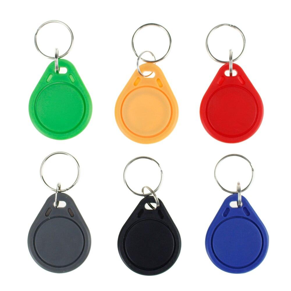 100 pcs RFID télécommandes 13.56 mhz porte-clés NFC tags ISO14443A MF Classique® 1 k nfc jeton de contrôle d'accès intelligent keycard six couleurs