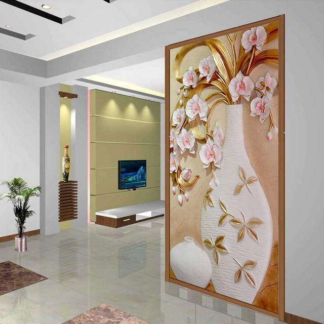 Placeholder Custom 3D Mural Wallpaper Embossed Flower Vase Stereoscopic  Entrance Wall Mural Designs Home Decor Wallpaper Living