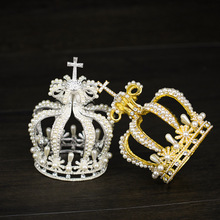 Royal Cross Style Crystal Faux Pearl Full Crown Princess Queen Tiaras  Hair Jewelry Wedding Accessory