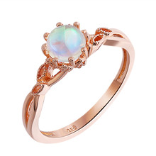 ROMAD Moonstone Ring for Women Rose Gold Engagement Fashion Leaf Wedding Vintage Jewelry R4