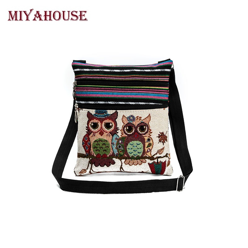 Miyahouse Hot Sale Cartoon Owl Print Messenger Bags Canvas Female Shoulder Bags