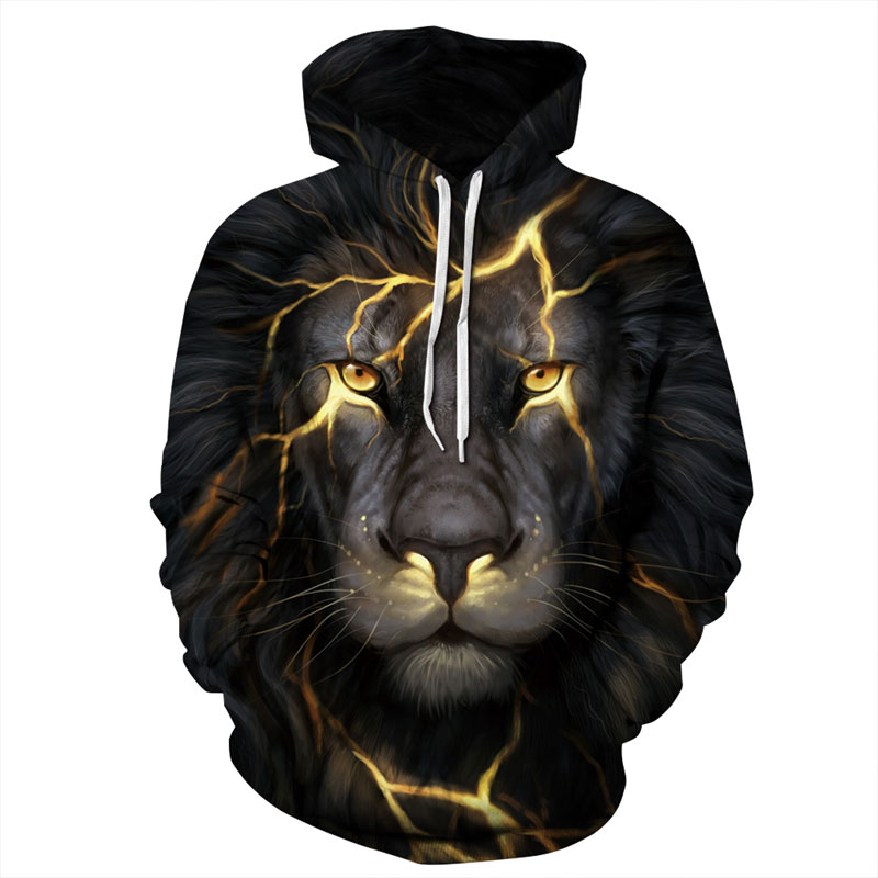 ONSEME Unisex-Adult Long Sleeve Sweatshirts Pullovers Men/Women Golden Lightning Lions 3D Hoodies Tracksuits Hooded DHO-008