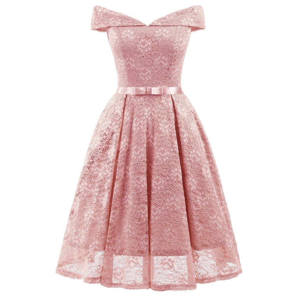 women lace dress 2018 summer clothing Vintage Off Shoulder V Neck Lace vintage party dress