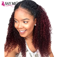 SAY ME Ombre 1B Burgundy Brazilian Hair Two Tone Kinky Curly Hair Bundles Non Remy Red