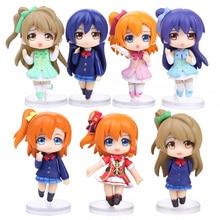7pcs set love Live School Idol Project PVC Figures Toys Kousaka Honoka Minami Kotori Sonoda Umi