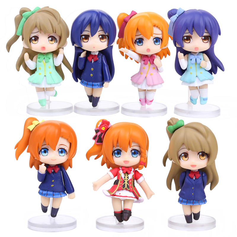 7pcs set love Live School Idol Project PVC Figures font b Toys b font Kousaka Honoka