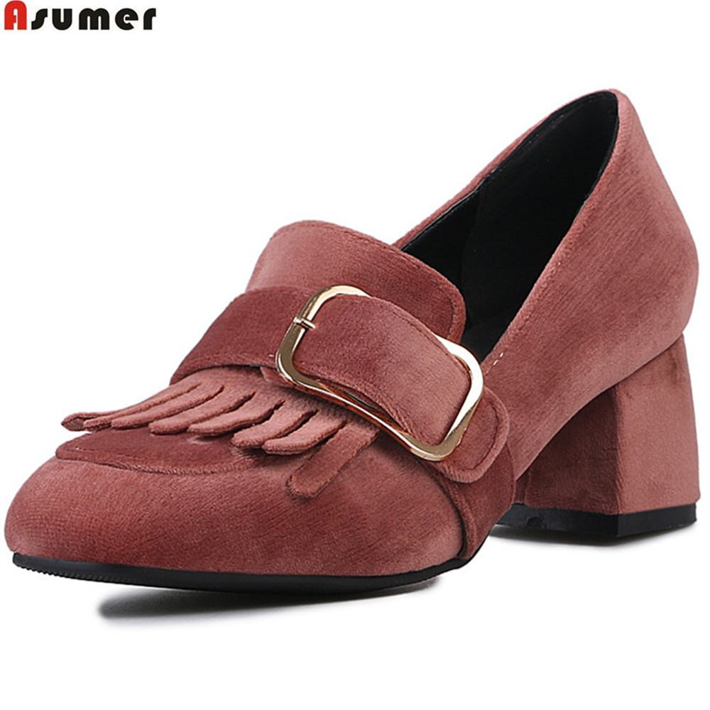 Asumer black red fashion Apring autumn women pumps square toe casual single shoes square heel high heels shoes plus size 33-48